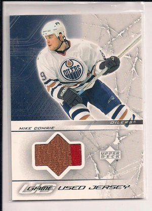 MIKE COMRIE OILERS 2003-04 UPPER DECK GAME USED JERSEY TWO COLORS!!