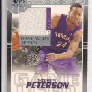 MORRIS PETERSON RAPTORS 2003-04 SP AUTHENTIC FABRICS GAME WORN JERSEY CARD