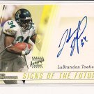 LABRANDON TOEFILS 2003 BOWMAN SIGNS OF THE FUTURE AUTOGRAPH CARD