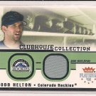 TODD HELTON ROCKIES 2002 FLEER PLATINUM JERSEY CARD