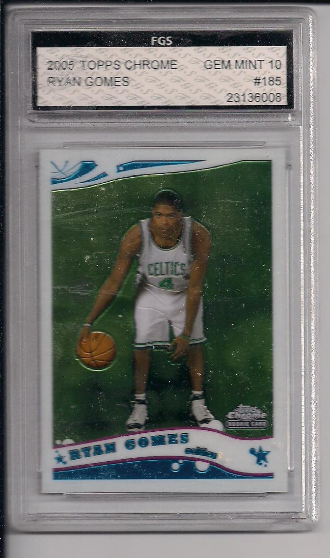 RYAN GOMES CELTICS 2005 TOPPS CHROME ROOKIE CARD GRADED FGS 10!