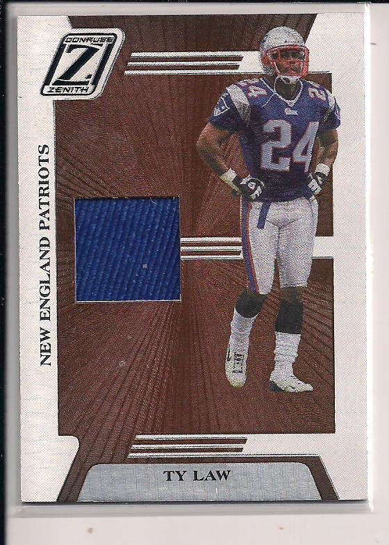 TY LAW PATRIOTS 2005 DONRUSS ZENITH JERSEY CARD