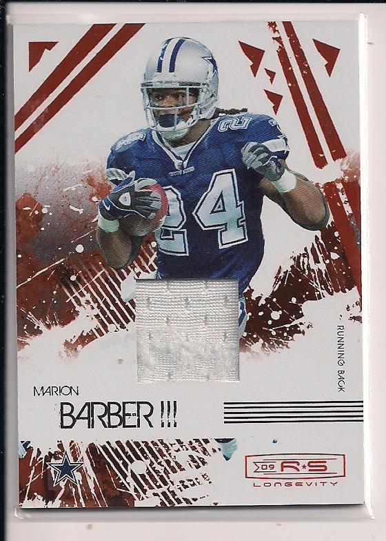 MARION BARBER 2009 DONRUSS R&S LONGEVITY JERSEY CARD #'D 174/299!