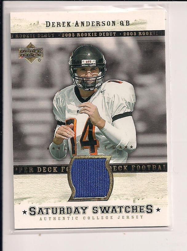 DEREK ANDERSON 2005 UD SATURDAY SWATCHES JERSEY CARD