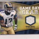 DONNIE AVERY RAMS 2009 UPPER DECK GAME DAY GEAR JERSEY CARD