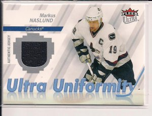 MARKUS NASLUND CANUCKS 2007-08 FLEER ULTRA UNIFORMITY JERSEY CARD