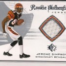 JEROME SIMPSON BENGALS 2008 SP ROOKIE AUTHENTICS JERSEY CARD