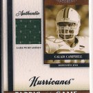 CALAIS CAMPBELL 2008 LEAF CERTIFIED MATERIALS JERSEY CARD