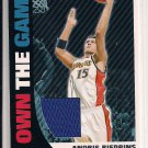 ANDRIS BIEDRINS WARRIORS 2008-09 TOPPS OWN THE GAME RELIC CARD