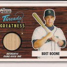 BRET BOONE MARINERS 2004 BOWMAN HERITAGE THREADS BAT CARD