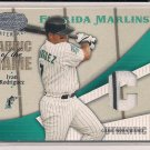 IVAN RODRIGUEZ MARLINS 2004 LEAF FABRIC OF THE GAME JERSEY #'D 045/100!