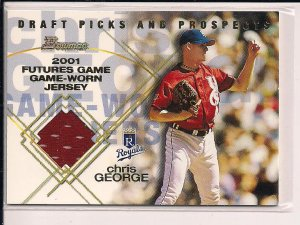 CHRIS GEORGE ROYALS 2001 BOWMAN DRAFT PICKS FUTURES JERSEY CARD