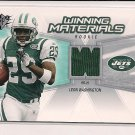 2006 SPX LEON WASHINGTON JETS WINNING MATERIALS ROOKIE JSY