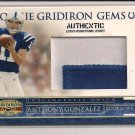 ANTHONY GONZALEZ COLTS 2007 GRIDIRON PRIME RC JSY #'D 40/50!