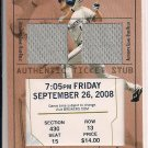 COREY HART BREWERS 2009 TOPPS DUAL JERSEY TICKET STUB