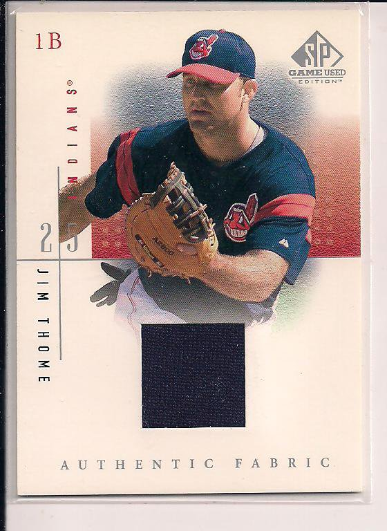JIM THOME INDIANS 2001 UD SP GAME USED JERSEY