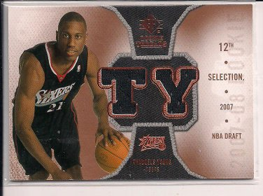 THADDEUS YOUNG 76ERS 2007 SP ROOKIE THREADS JERSEY