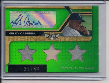 MELKY CABRERA 2008 TRIPLE THREADS BAT/JSY/AUTO #'D 21/50!