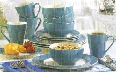 Blue Trimmed Dinnerware Set
