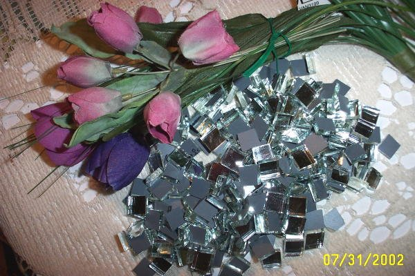 Mosaic Tiles *~WEDDING Confetti~* 500+Tiny Silver backed Mirror