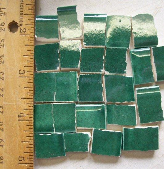 Handpainted*~GLISTEN GREEN  FILLERS~*50 Mosaic Tiles