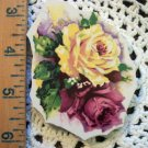 Mosaic Tiles *~Fabulous YELLOW & PINK ROSE ~1 LG. HM Kiln Fired