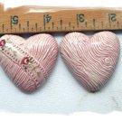Mosaic Tiles~PINK HEART SET~ 2  Kiln Fired HM Clay
