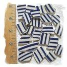 ~LARGE BLUE & WHITE STRIPES~110+ HC China  Mosaic Tiles