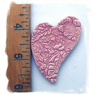 Mosaic Tiles~*EMBOSSED PINK HEART- 1 HM Kiln Fired