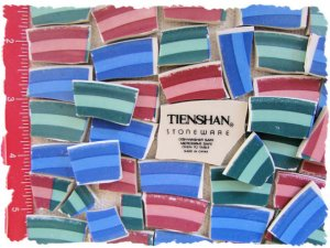*~RED-GREEN-BLUE STRIPES~* 50 LG. HC China Mosaic Tiles