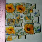 ~~ORANGE POPPY CHINTZ~~27 Lg. Mosaic  Tiles Kiln Fired
