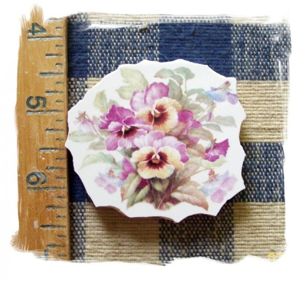 Mosaic Tiles *~BEAUTIFUL PASTEL PANSIES*~1 LG. HM Focal