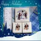 ~STICK SNOWMEN +~~3 Lg. Focal Mosaic Tiles