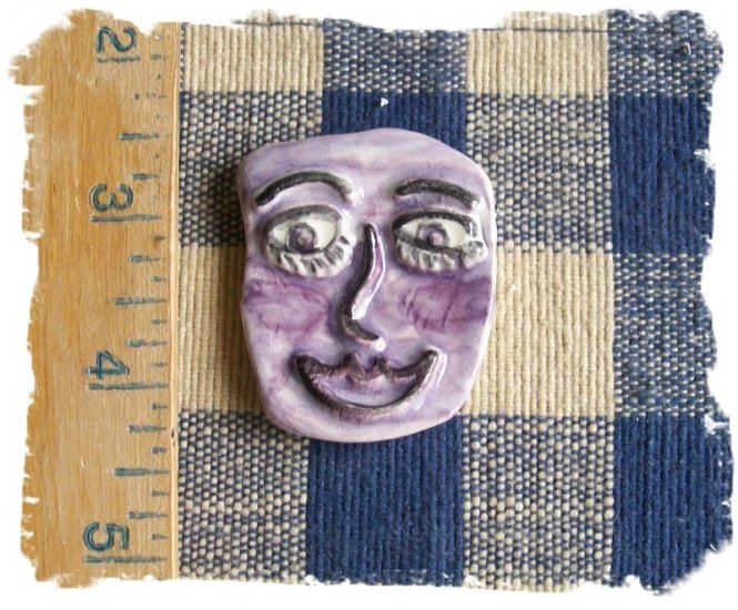 Mosaic Tiles *~PURPLE CRAZY FACE~*1 LG  Kiln Fired