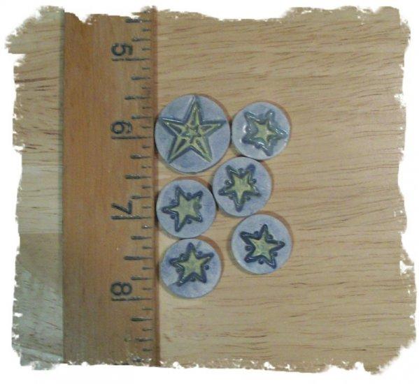 FUN Mosaic Tiles ~*LITTLE STARS*~6 HM Clay Kiln Fired
