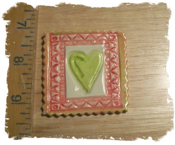 Mosaic Tiles ~*FRAMED HEART*~1 HM Clay Kiln Fired