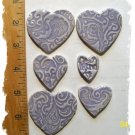 Mosaic Tiles ~LAVENDER HEARTS~Kiln Fired  Embossed Clay