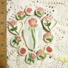Mosaic Tiles ~CHARMING PINK ROSES ~12 HM Clay Focals