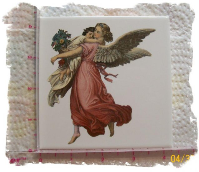 Mosaic Tiles*~ELEGANT ANGEL*~1 Large HM Kiln Fired Tile