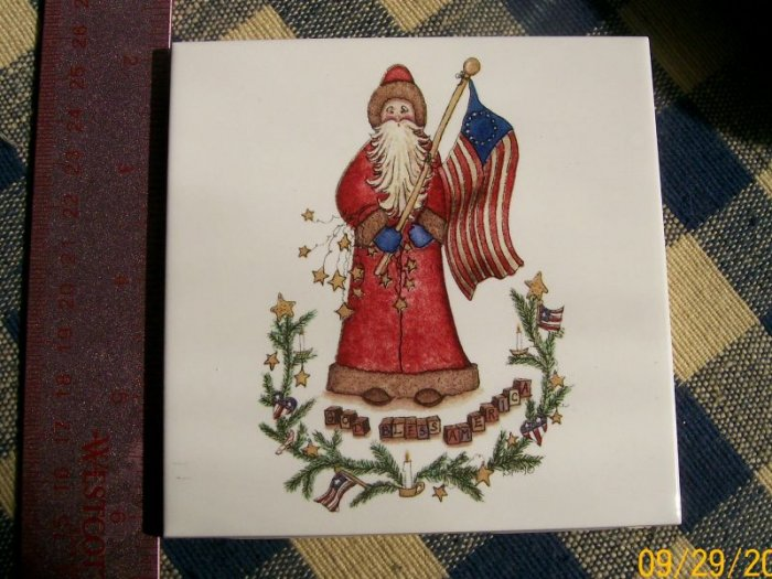 Mosaic Tiles *~SANTA & FLAG*~1 Large HM Kiln Fired Tile