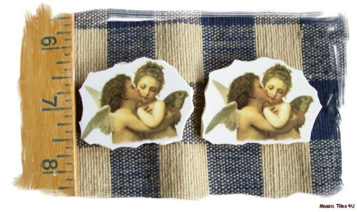 Mosaic Tiles~*ANGELS KISSING*~ 2 HM Kiln Fired