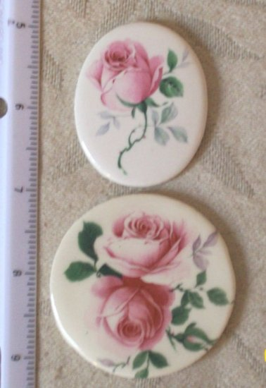 Altered Art Pendant~PINK ROSES~ 2  Mosaic Tile -Jewelry