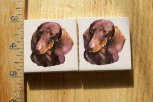 Mosaic Tiles~*DASCHUND*~ 2 Dog  Focals ~Kiln Fired