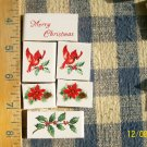 Mosaic Tiles~*XMAS CARDINAL SET*~ 6 FOCALS~Kiln Fired