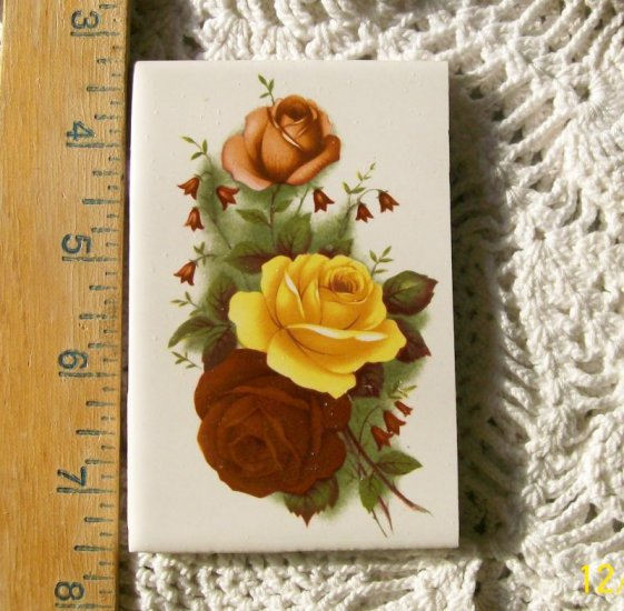 Mosaic Tiles *~YELLOW & PINK ROSES~*1 LG HM Kiln Fired