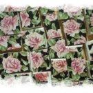 Mosaic Tile ~LOVELY~CHINTZ ROSES~on Black~ 50+ HM Tiles