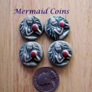 4 Pottery Art Embellishments ~*MERMAID COINS ~Mosaic