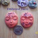 2 Pottery Embellishment*~SWIRLED EMBOSSED FACES~Mosaic