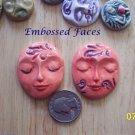 2 Pottery Embellishment*~SWIRLED EMBOSSED FACES~Mosaic