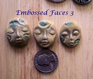3 Pottery Embellishment*~EARTHTONE & BLUE FACES~Mosaic